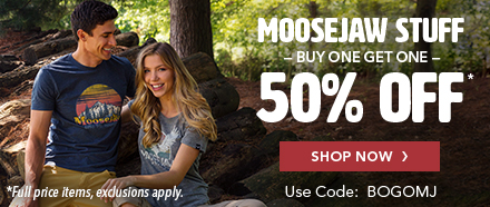 Buy one Full Price Moosejaw item, get one Half Off with code BOGOMJ