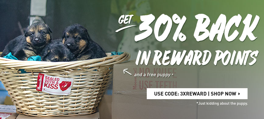Get 30% back in Rewards Points plus a free puppy. The puppy part isn't true.