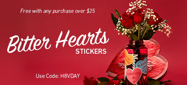 Bitter Hearts Stickers - Free with Any Purchase Over $25 and Code H8VDAY