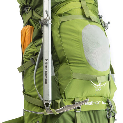 Make use of the exterior pockets and loops on your pack to store tent poles, your ice axe and other gear.