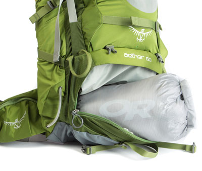 Your sleeping bag is really important, so it gets its own compartment.