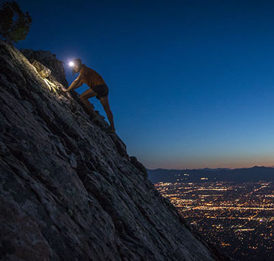 You can climb at night with a headlamp, but we don't recommend it.