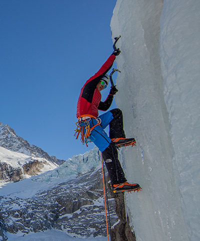 This is an example of a bad ass vertical ice climb.