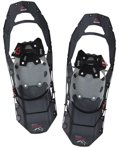The MSR Revo Explore Snowshoes are versatile backcountry shoes ideal for varying terrains, and long days of hiking.
