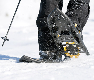 Make sure your snowshoes have the traction you'll need for the terrain and snow you'll be hiking.