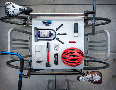 Always commute with a basic bike repair kit... and some other stuff.