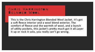 Moosejaw Chris Harrington Jacket info