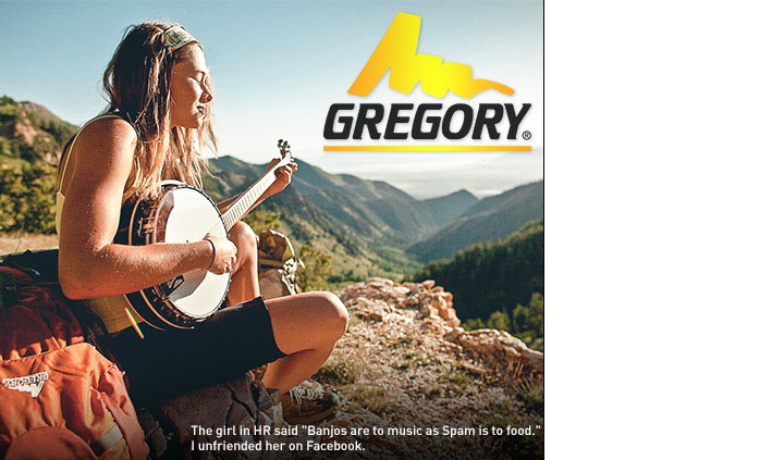 Gregory backpacks and gear. And a cutie with a banjo.